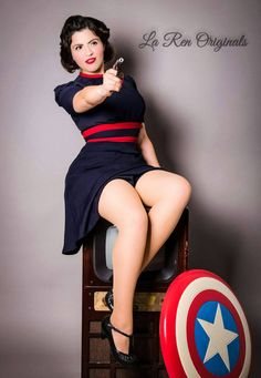 """Agent Carter Margaret Peggy Carter Cosplay by SeattleCosplay (Agent Carter - Margaret """"Peggy"""" Carter Cosplay - Retro Navy Dress)"""