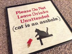 X-Stitch Pattern Please Do Not Leave Drinks by theNIFTYnerdette--dog