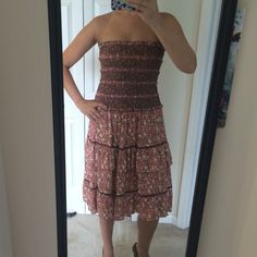 Free People Strapless Dress Free People strapless dress. I've worn it as both a dress and a skirt. Machine wash cold. Very cute worn with a brown leather belt. Free People Dresses Strapless
