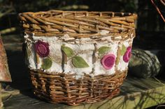 A handcrafted willow basket with embroidered textile border featuring papermaking, applique and surface embroidery on Etsy, £65.00