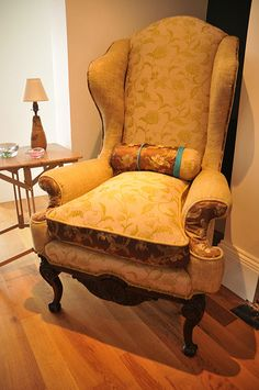 Victorian wing armchair re-upholstered Tweeds & florals with victorian brown silk details