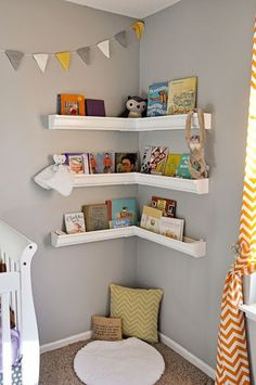 Cute idea for books. Especially because a toddler cant reach to make a mess