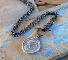 Ancient roman Silver antonionus coin necklace  statement by anakim, $238.00