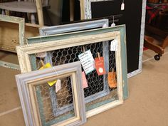 Find some frames for $1-$5 at goodwill, paint them with some chalk paint, add a little chickens wire and Bam! Beautiful message board or picture holder!
