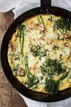 Baby Broccoli Frittata with Feta on naturallyella.com