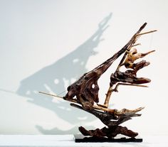 Driftwood Sailboat Sculpture, Natural Wood Recycled Art. by driftwoodartwork on Etsy