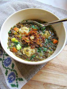 Wildes Poulet: Suppenzmittag III - Fränkische Linsensuppe mit Mehlspatzen und Schoggicrème zum Dessert