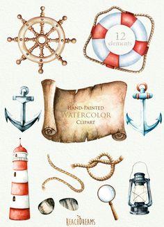 Etsy の Nautical watercolor clipart. by ReachDreams Source by nakaikitty Ankara Nakliyat Watercolor Clipart, Watercolor Paintings, Planner Stickers, Art Postal, Lifebuoy, Banner, Clip Art, Lighthouse, Illustration