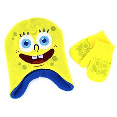 fba77ad50a7f Disney Nickelodeon Toddler Boys Hat and Mittens Set (Yellow Spongebob)
