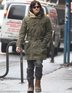 Stormin' Norman: Reedus looked in high spirits as he went for a stroll in New York on Tuesday