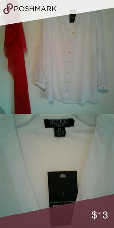 Brand New Rough White Shirt Brand new, never worn, white long sleeve sheer blouse  with gold buttons for that beautiful plus sized woman. Rouge Helium Tops Button Down Shirts