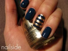Striped Nails via Valley Social Media #stripes #nails #gold