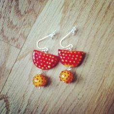 Polka dot earrings made of handmade glass beads