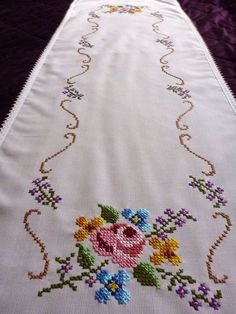 vintage embroidered light pink table runner tablecloth by Retroom Cross Stitch Rose, Cross Stitch Borders, Modern Cross Stitch, Cross Stitch Flowers, Cross Stitch Designs, Cross Stitching, Cross Stitch Patterns, Ribbon Embroidery, Floral Embroidery