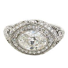 A stunning platinum and diamond engagement ring. at 1stdibs