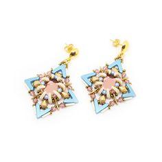 Boucles d'oreilles printemps-chic avec AVA® Beads, crescent beads et cristaux Swarovski