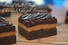 PEANUT BUTTER TRUFFLE & CHOCOLATE GLAZED BROWNIES - Hugs and Cookies XOXO