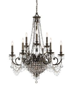 Crystorama Wrought Iron Hand Cut Lead Crystal Chandelier 6 Lights - English Bronze - 5168-EB-CL-MWP