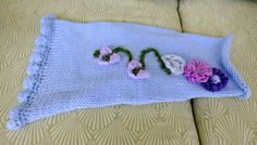 Dog Sweater Hand Knit Blue Flowers Medium 16 inches by jenya2