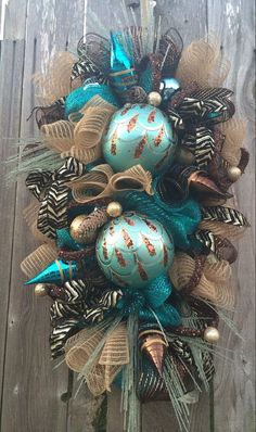 Turquoise Christmas Wreath Christmas Swag Holiday Wreath by BaBamWreaths Blue Christmas Decor, Peacock Christmas, Christmas Swags, Diy Christmas Ornaments, Holiday Wreaths, Rustic Christmas, Christmas Themes, Holiday Crafts, Christmas Holidays