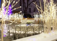 Glowing branches ~ #white #tablescape #wedding #decor #ideas #winter #party #eventuresinc