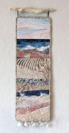 Beach Series 110 Original fiber art by Eileen Williams. This quilt is in my et… Beach Series 110 Original fiber art by Eileen Williams. This quilt is in my etsy shop Fiber Art Quilts, Textile Fiber Art, Fabric Art, Fabric Crafts, Beach Quilt, Landscape Art Quilts, Free Motion Embroidery, Freehand Machine Embroidery, Creative Textiles