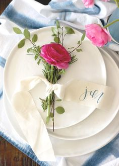 A Fabulous Fete: rosemary + ranunculus place card // setting the table