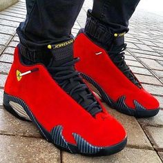 "Nike Air Jordan 14 Retro ""Ferrari"" Really one of my fav Jordan's Cute Shoes, Women's Shoes, Me Too Shoes, Shoe Boots, Shoes Sneakers, Shoes Adidas, Black Sneakers, Gucci Shoes, Louboutin Shoes"