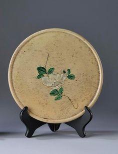 "glazed Japanese folk pottery stoneware oil dish (""abura-zara"") or lantern plate (""andon-zara"")"