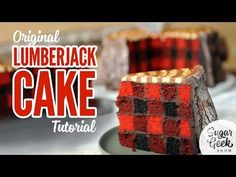 Learn how to make this amazingly awesome lumberjack cake with suspended axe, rustic edible tree trunk and plaid cake on the inside! Crazy cool!