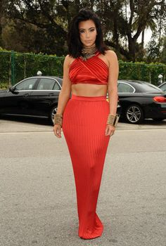 Kim Wore a Red Silk Balmain Crop Top and Skirt to a Pre-Grammys Brunch: It was her outfit accoutrements that made the real statement, from her Balmain rope cuffs and necklace to her embellished Lanvin eagle choker to her edgy new hairstyle.