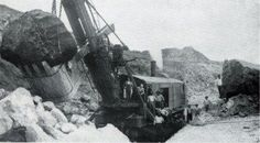 A Marion steam shovel excavating the Panama Canal in 1908.source