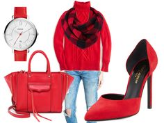 Referencing the featured image of this post...  Go for a monochromatic look... all red! Wear a bright red turtleneck sweater with red plaid scarf. Have fun with a red bag and red pumps. Wow! I've styled in a pair of distressed skinny jeans for a casual look... however, you could take this loo