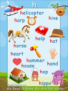 h words - h sound Phonics Poster - FREE & PRINTABLE - Perfect for phonics practice, auditory discrimination, spelling, Word Walls & Home Reading Practice. Phonics Reading, Teaching Phonics, Teaching Kids, Kids Learning, Teaching Reading, Learning Spanish, English Phonics, English Vocabulary, Teaching English