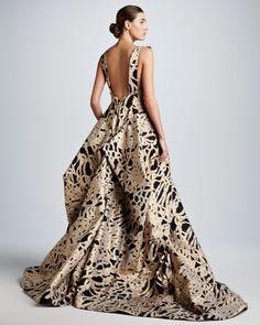 Zac Posen Full-Skirt Rope Brocade Ball Gown - Neiman Marcus