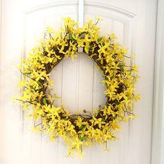 READY TO SHIP Yellow Forsythia Wreath by JennysWreathBoutique