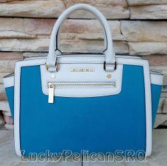Michael Kors Large Selma TopZip Summer Blue Saffiano leather Canvas  Satchel #MichaelKors