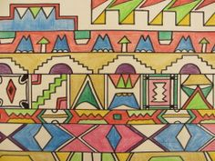 Hand drawn and coloured design for my African textiles 'A' Level project.