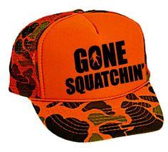 "Gone Squatchin"" Mesh Trucker Hat Cap Snapback Camouflage Bigfoot"