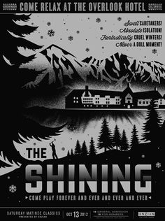 this is awesome.   Poster for October, 2012 screening of The Shining at Florida's Enzian Theater.  Design:Lure Design, Inc.