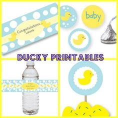 Blue Rub A Dub Ducky Theme Pack-Blue Rub A Dub Ducky Theme Pack, duck baby shower, printable, water bottle labels