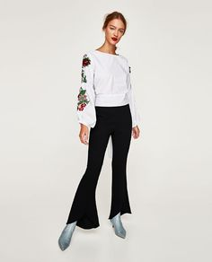 ZARA - WOMAN - TOP WITH EMBROIDERED SLEEVES AND BOW IN BACK