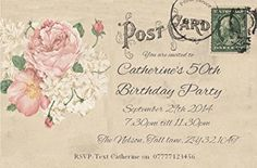 50 PERSONALISED PARTY INVITATIONS. Vintage Post Card Invites for 18th 21st 30th 40th 50th 60th... Any Birthday. Adult Postcard Party Invitations with Free Envelopes.