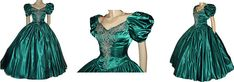 Vintage+Mike+Benet+Evening+Gown+Ball+Gown+Sweetheart+Jeweled+Green+Satin+Grand+Sweep+Formal+Gown+Black+Tie+Affair+Prom+Dress+Designer+Dres