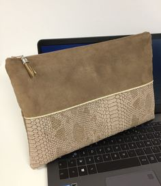 aa357d1c25 Custom-made air macbook bag camel and gold / Computer cover 12, 13, 14,  15.6 inches, suede and crocodile vegetable leather / Macbook case
