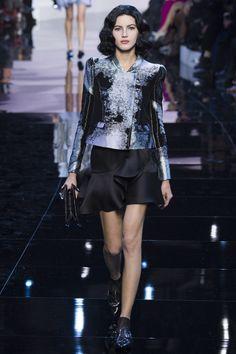 Armani Privé | Spring 2016 Couture | 17 Black/blue printed jacket and black ruffled mini skirt
