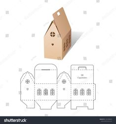 Find Retail Box with Die-cut Layout stock vectors and royalty free photos in HD. Diy Gift Box, Diy Box, Cardboard Crafts, Paper Crafts, Paper Box Template, House Template, Box Templates, Christmas Crafts, Christmas Decorations