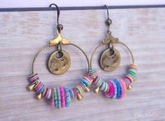 Tiny Hoop earrings - pink earrings - boho jewelry - gypsy hoops - unique earring hoop - Bohemian Jewellery  • 1 pair of earrings dangle with French