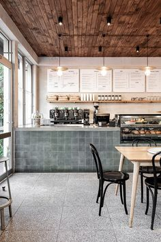 cafe restaurant High St Society by Ricci Bloch Architecture + Interiors Coffee Cafe Interior, Coffee Shop Interior Design, Restaurant Interior Design, Interior Shop, Resturant Interior, Bistro Interior, French Interior, Cafe Kitchen Decor, Pub Decor