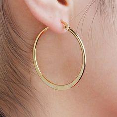 Women/'s Ring Boucles d/'oreilles Créoles 18k or jaune rempli 35 mm Gold Filled Fashion Jewelry Hot